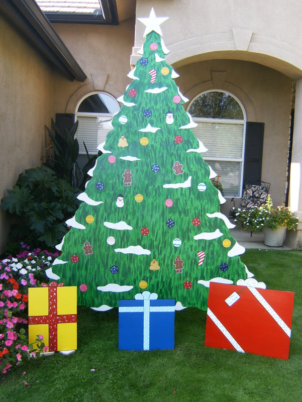 Elves and christmas trees r b yard art and holiday for Christmas tree yard decorations